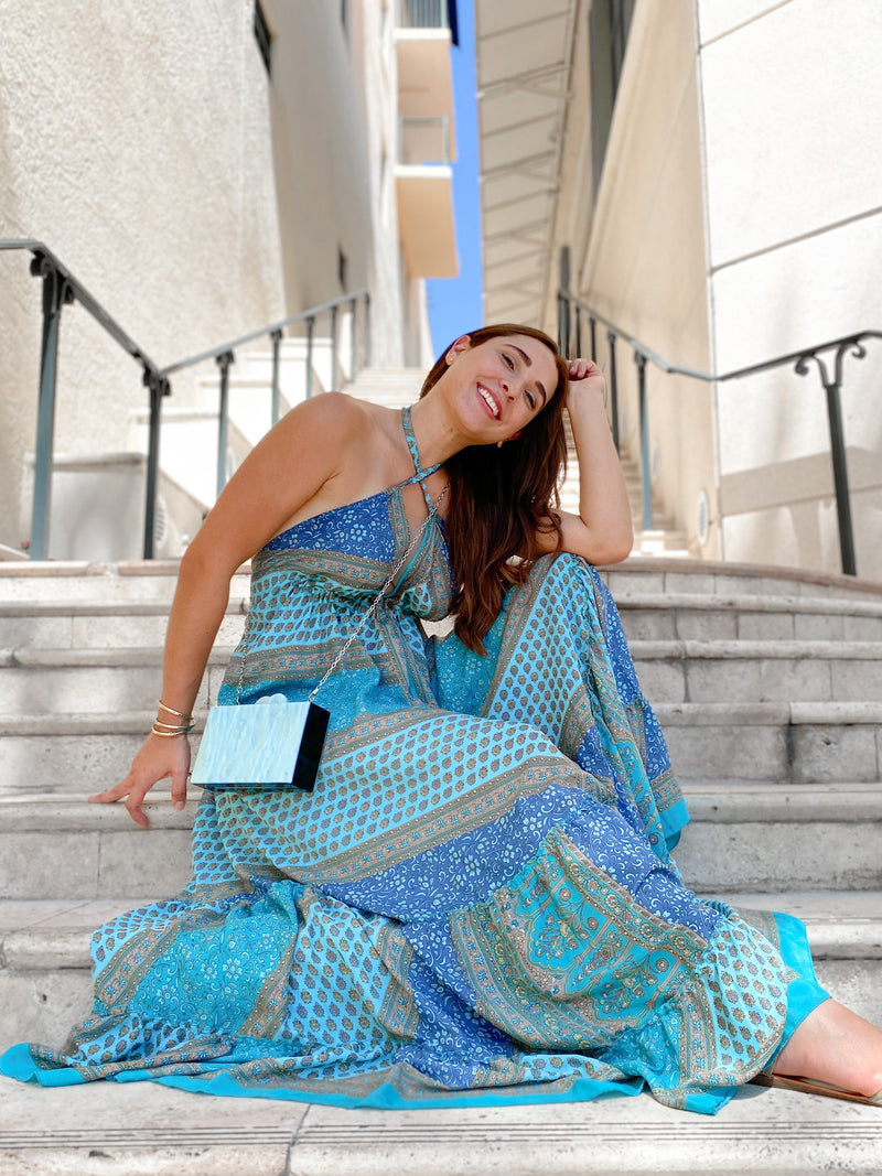 Gypsea Boho Maxi Dress - Blue Mix