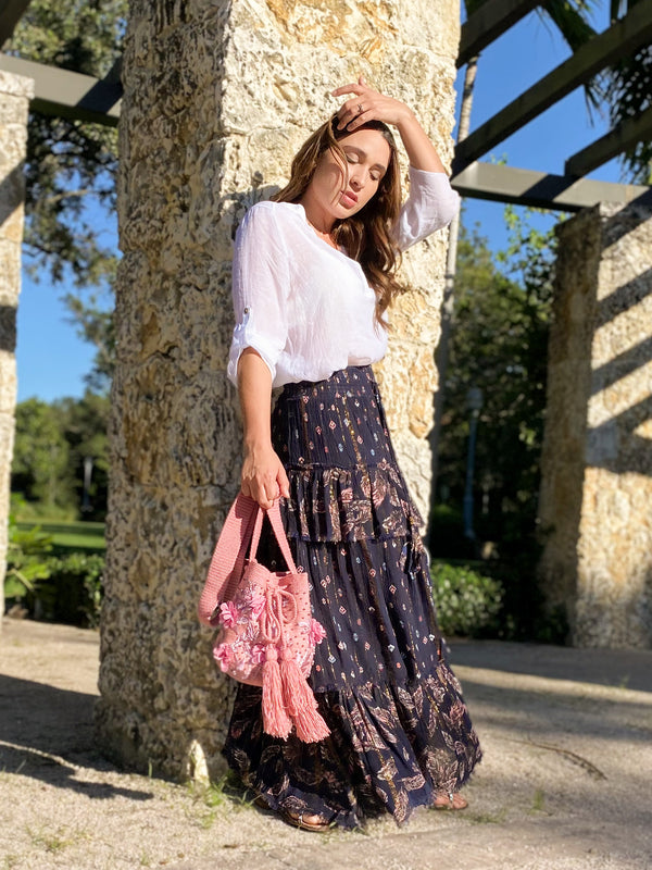 Dusty Feather Tiered Maxi Skirt - Navy