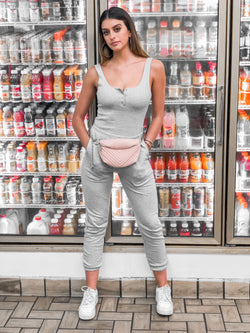 Lenny Ribbed Bodysuit & Joggers Set - Heather Grey