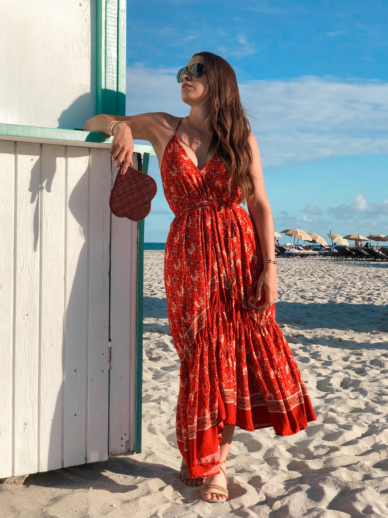 Daydream Ruffle Wrap Maxi Dress - Red Mix