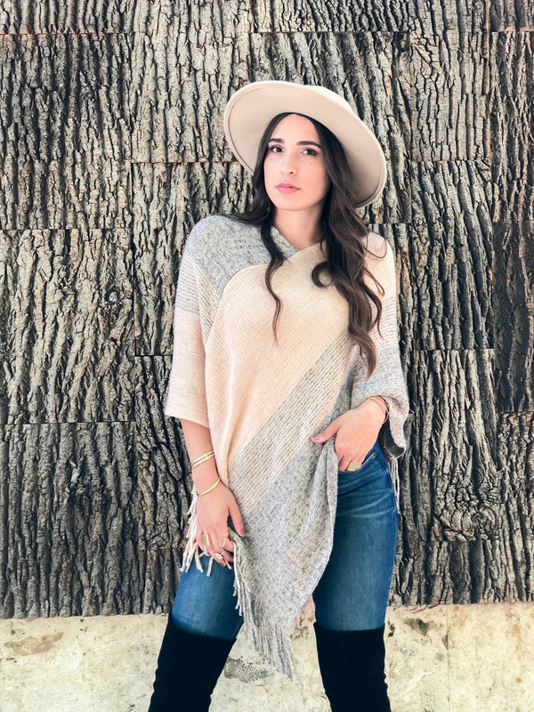 Ticket To Cozy Striped Fringe Poncho - Blush/Grey