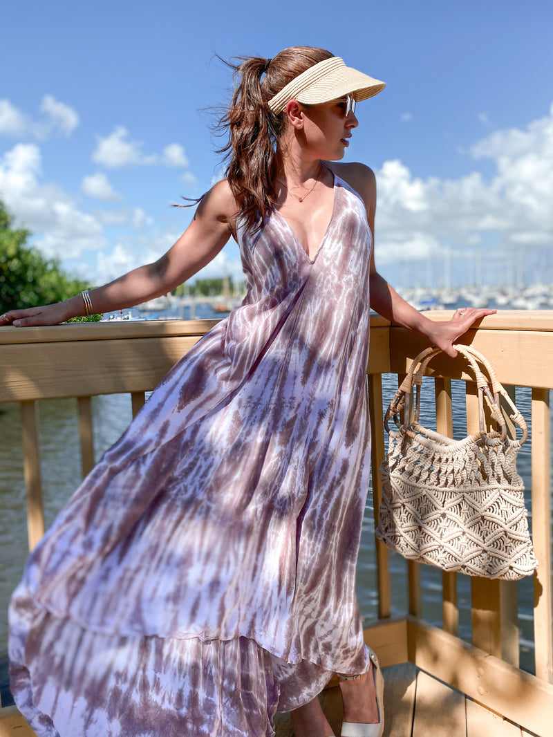 Beach Therapy Tie Dye Maxi Dress - Taupe / White