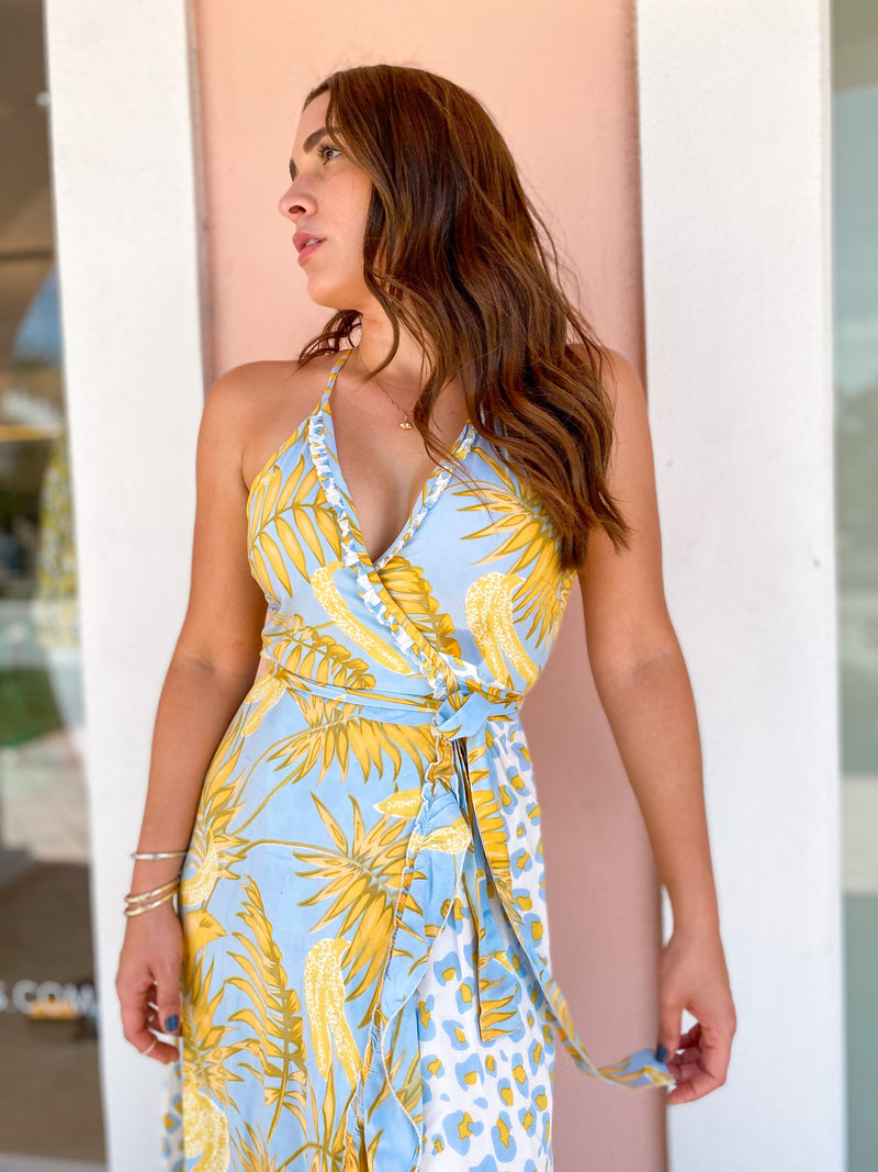 Bananarama Wrap Ruffle Maxi Dress