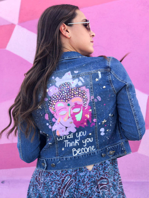 Hand Painted Buddha Jean Jacket