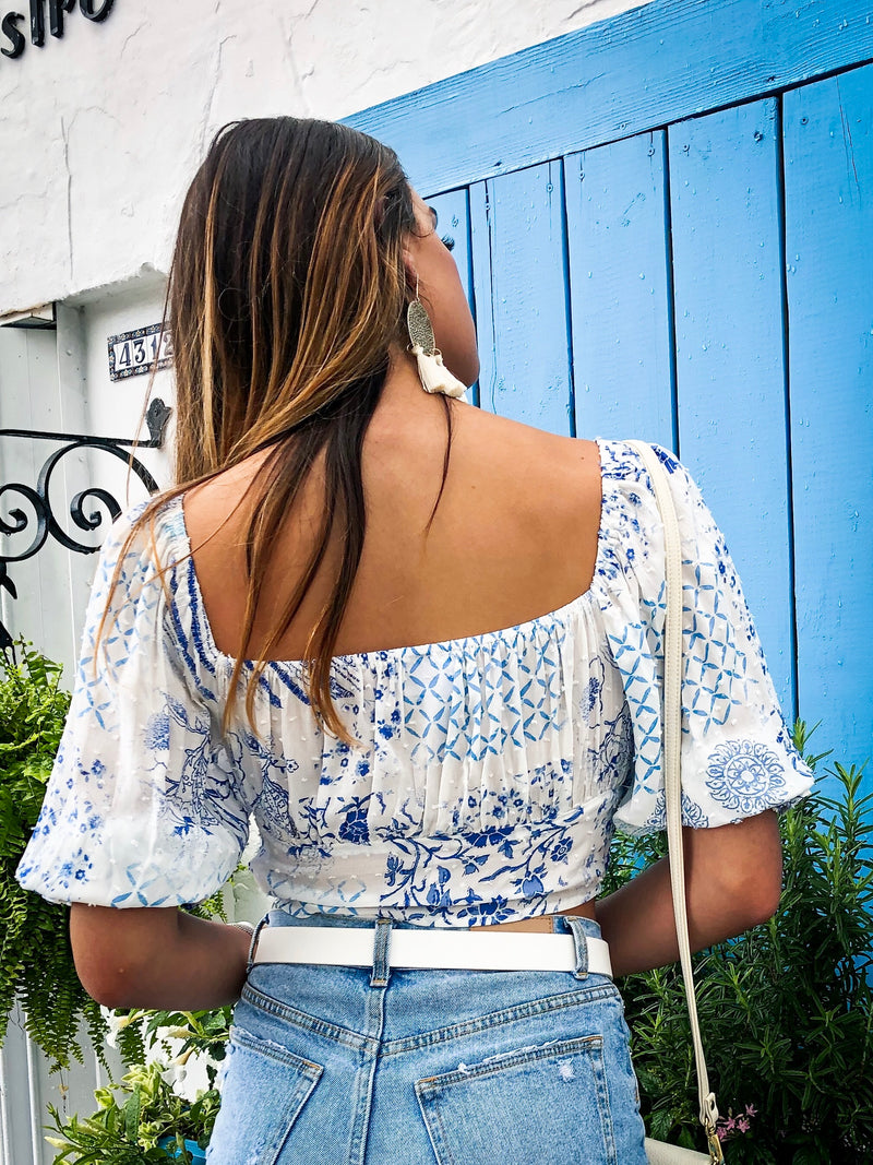 Santorini Patch Print Top - White/Blue