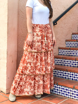 Cora Tiered  Ruffle Embellished Maxi Skirt - Floral