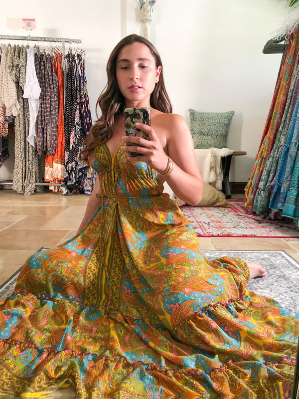 Gypsea Boho Maxi Dress - Yellow Mix