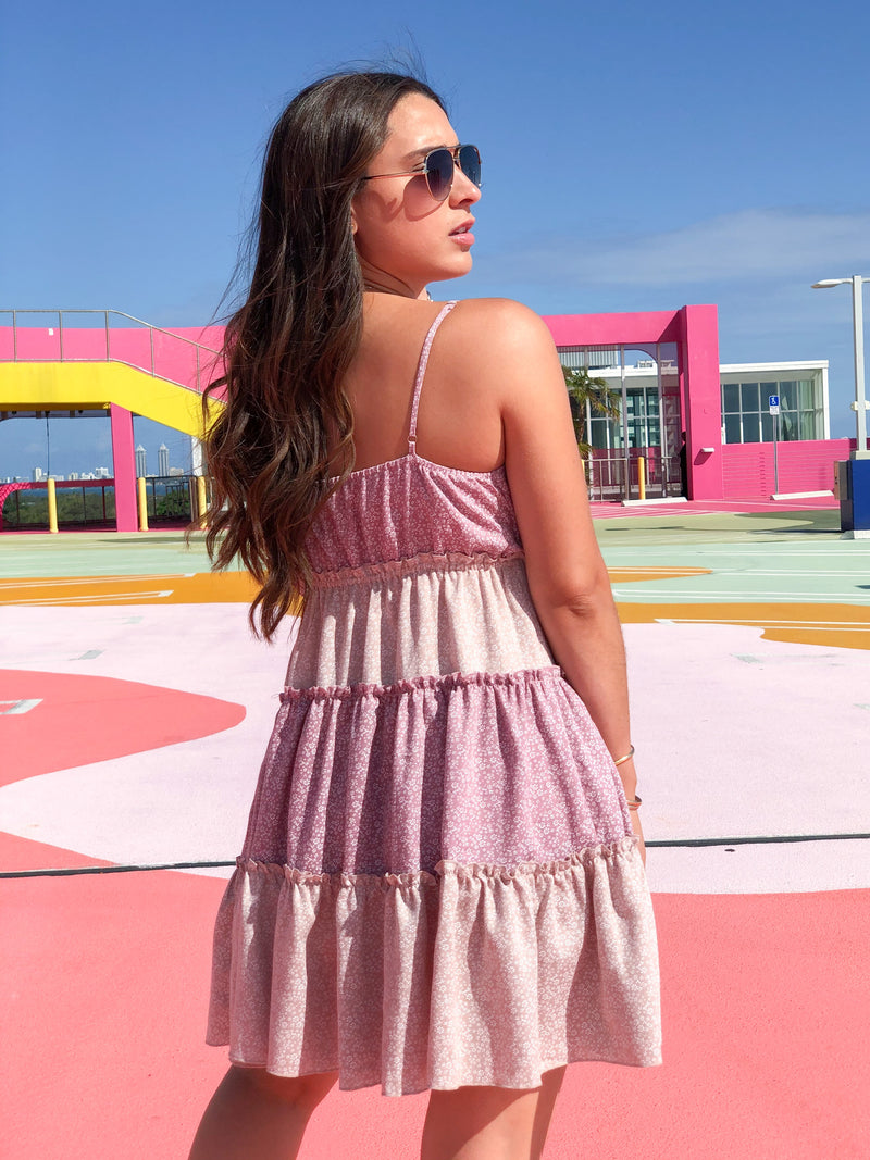 Heartbreaker Tiered Mini Dress - Pink Mix