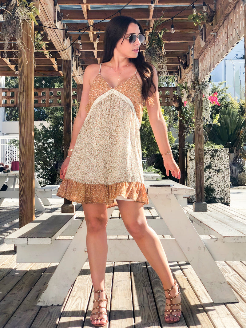 Adella Lace-Trimmed Ruffle Mini Dress - Brown Mix