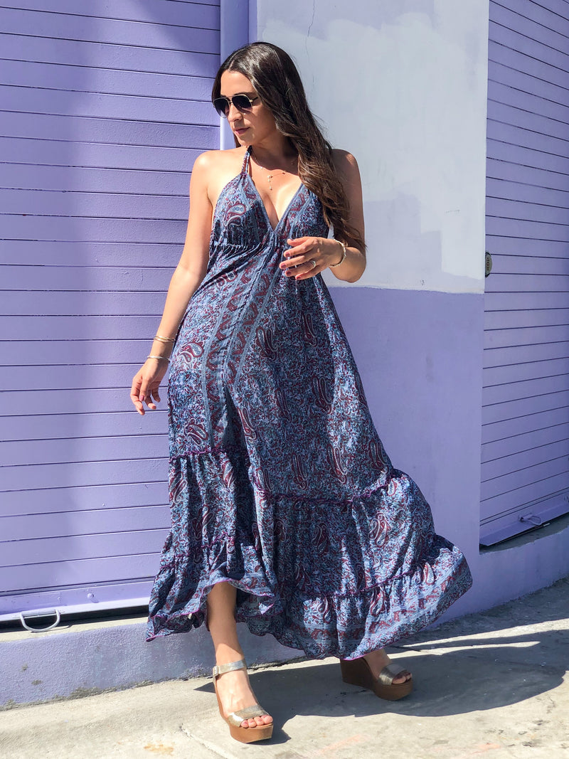 Gypsea Boho Maxi Dress - Purple Mix
