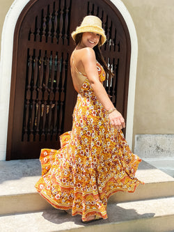 Summer Queen Ruffle Wrap Maxi Dress -  Yellow / Orange