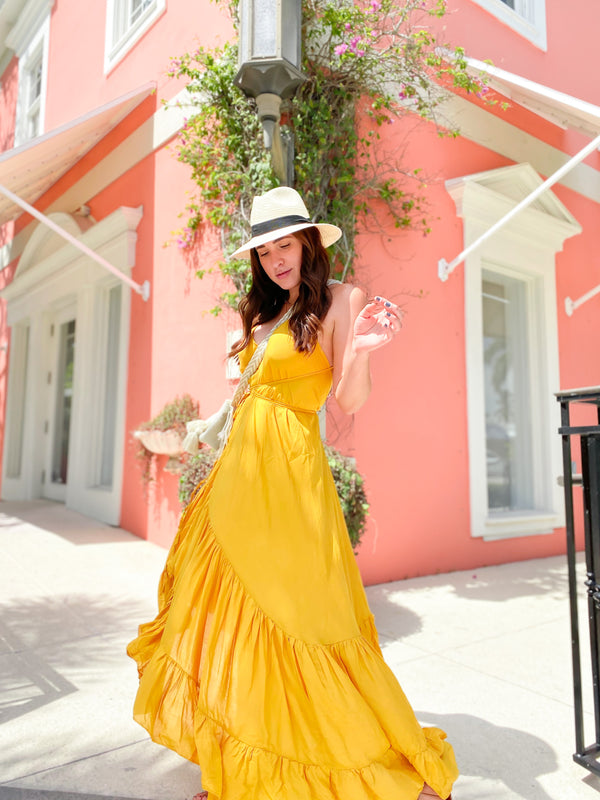 Elissa Ruffle Wrap Maxi Dress -  Yellow