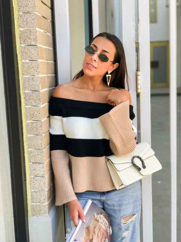 Paris Off Shoulder Color Block Knit Sweater - Black/White/Tan