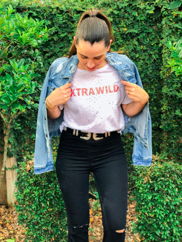 Extra Wild Distressed Graphic Tee - White / Pink