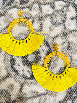Sunshine Beaded Tassel Earrings - Yellow