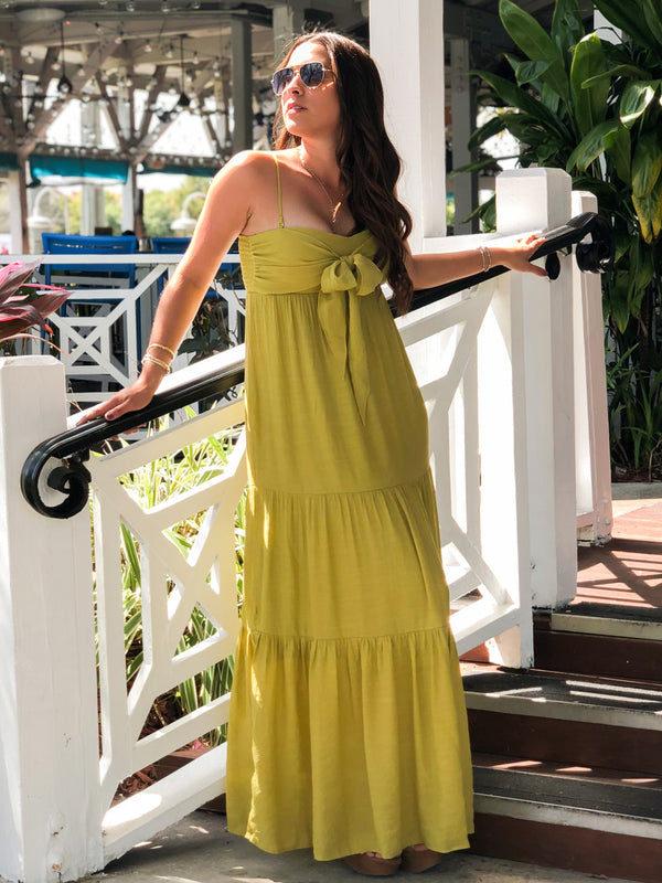 Lily Tie-Front Tiered Maxi Dress - Lemon