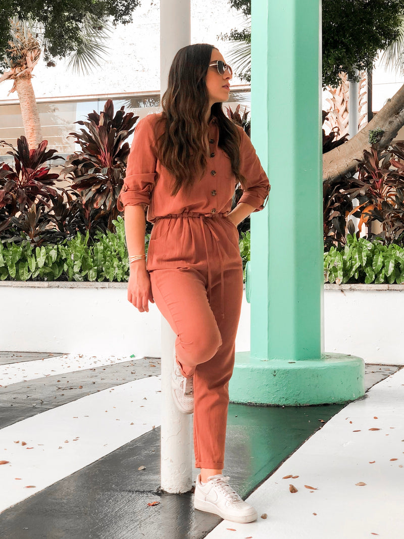Bailey Long Sleeve Utility Jumpsuit - Rust