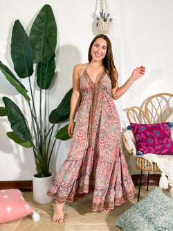 Gypsea Boho Maxi Dress - Pink Mix