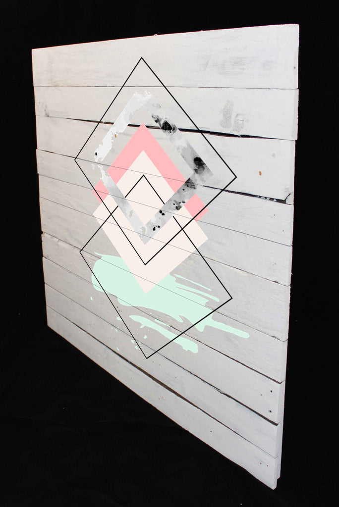 Reclaimed Wood Print - New Product Nordic Diamonds (Reclaimed white wood)  - Andrew Lee Home and Living Homeware