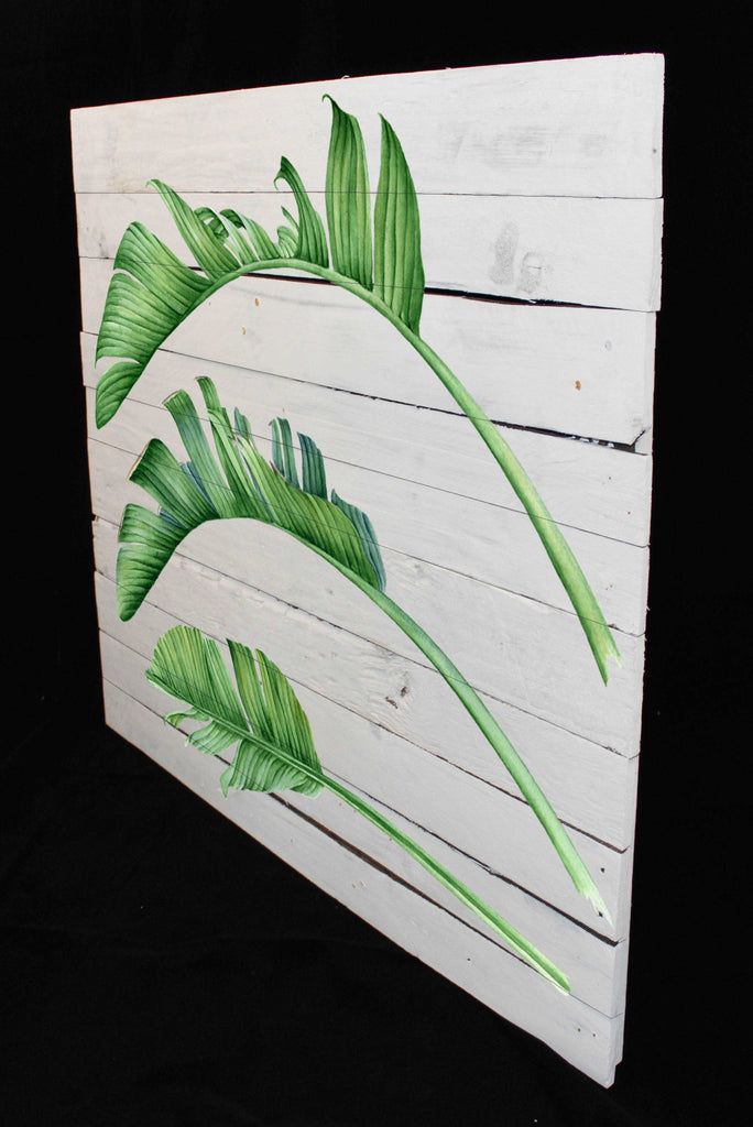 Reclaimed Wood Print - New Product Palm Leaves Trio (Reclaimed white woods)  - Andrew Lee Home and Living Homeware