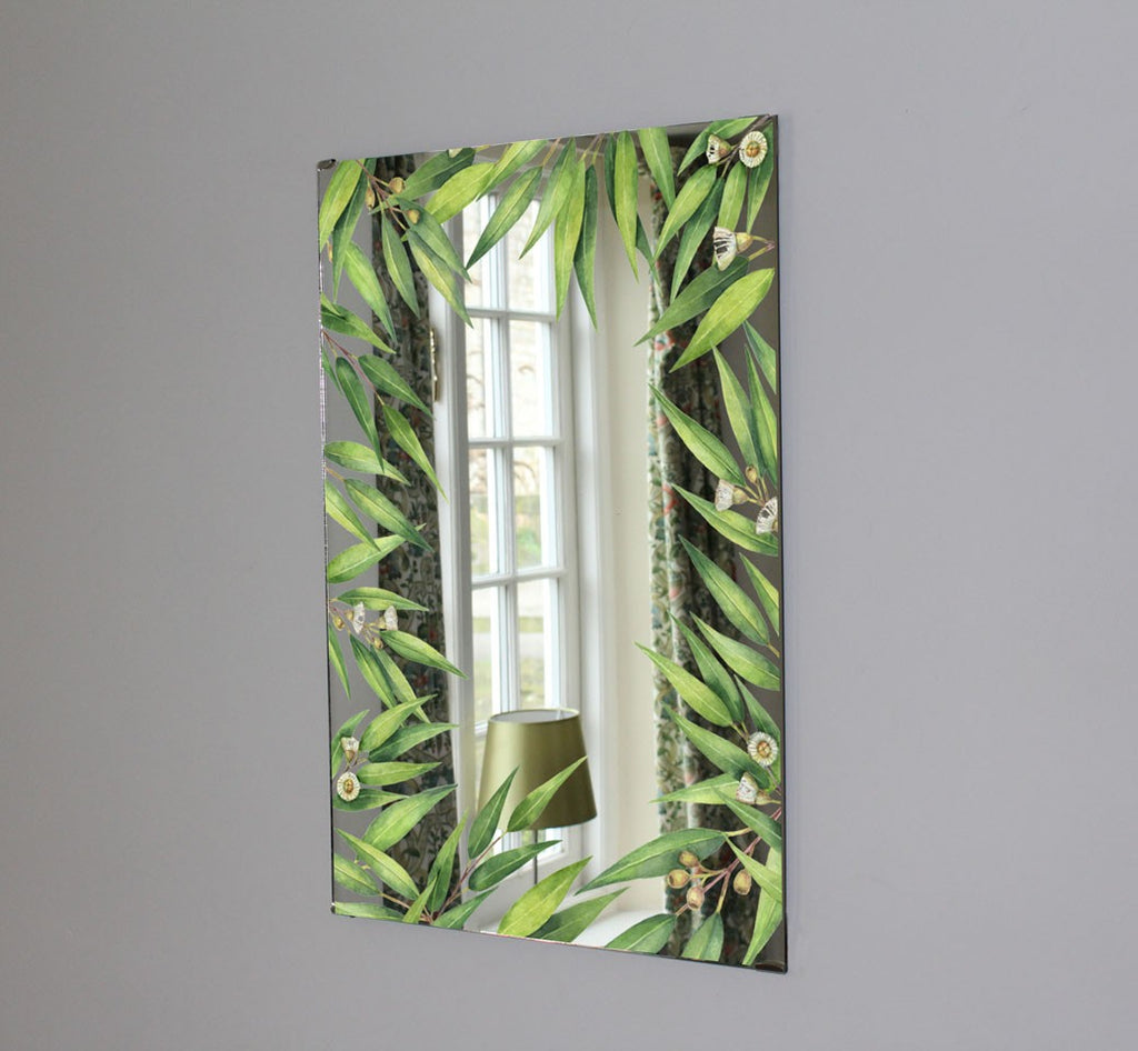 New Product Watercolor hand painted green floral eucalyptus leaves (Mirror Art Print)  - Andrew Lee Home and Living