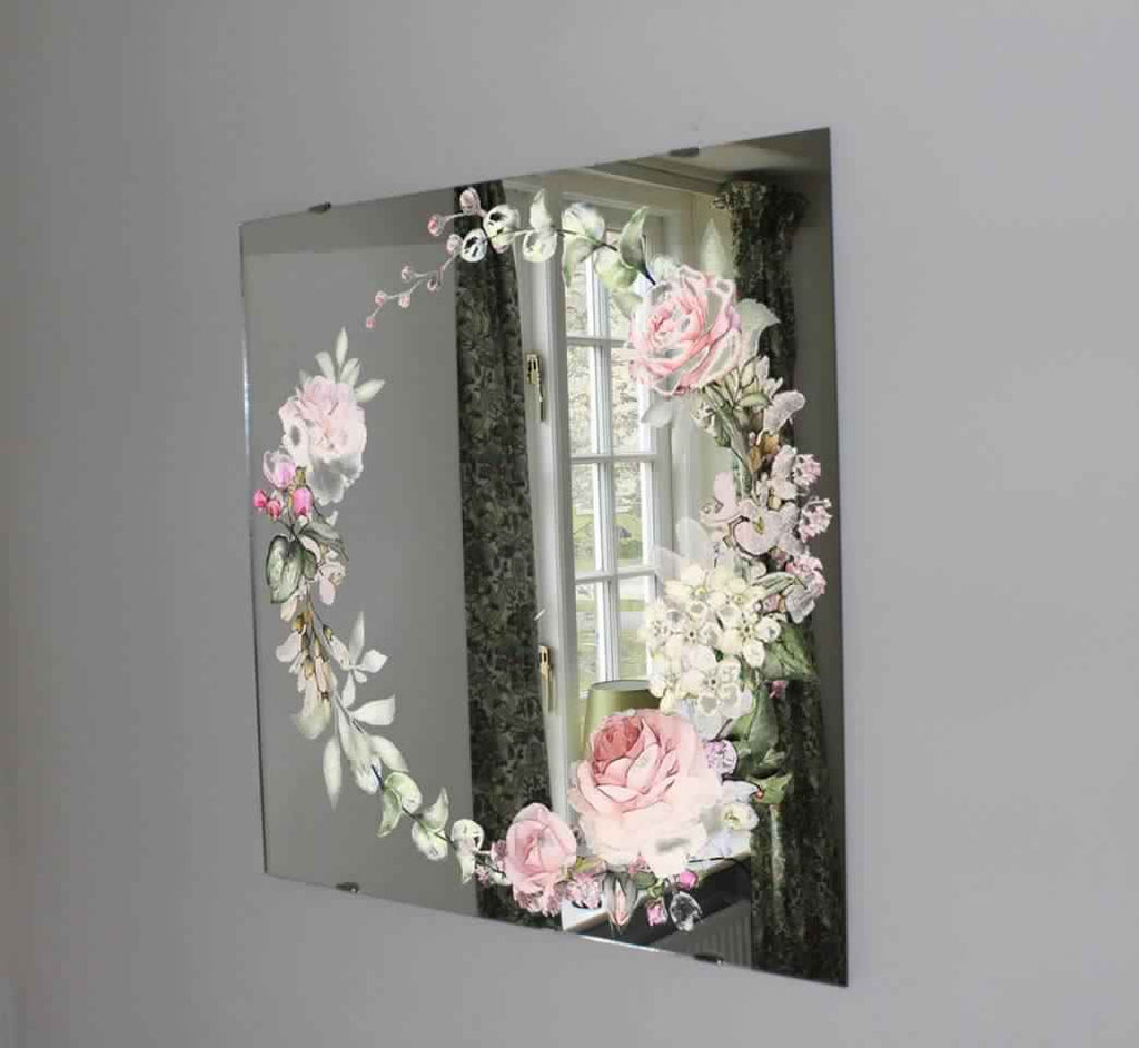 New Product Vintage pink roses (Mirror Art Print)  - Andrew Lee Home and Living