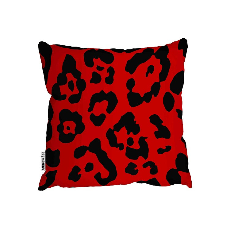 New Product Leopard print in red (Cushion)  - Andrew Lee Home and Living