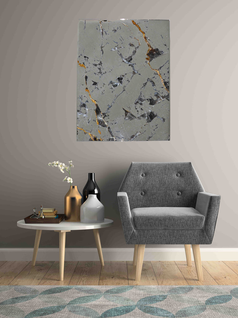 New Product Gold and white, dark Gray marble (Mirror Art print)  - Andrew Lee Home and Living
