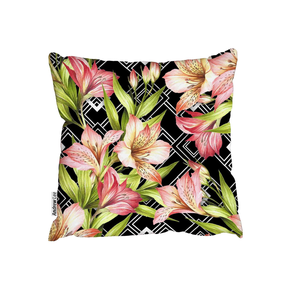 New Product Alstroemeria flowers on abstract white black geometric background (Cushion)  - Andrew Lee Home and Living