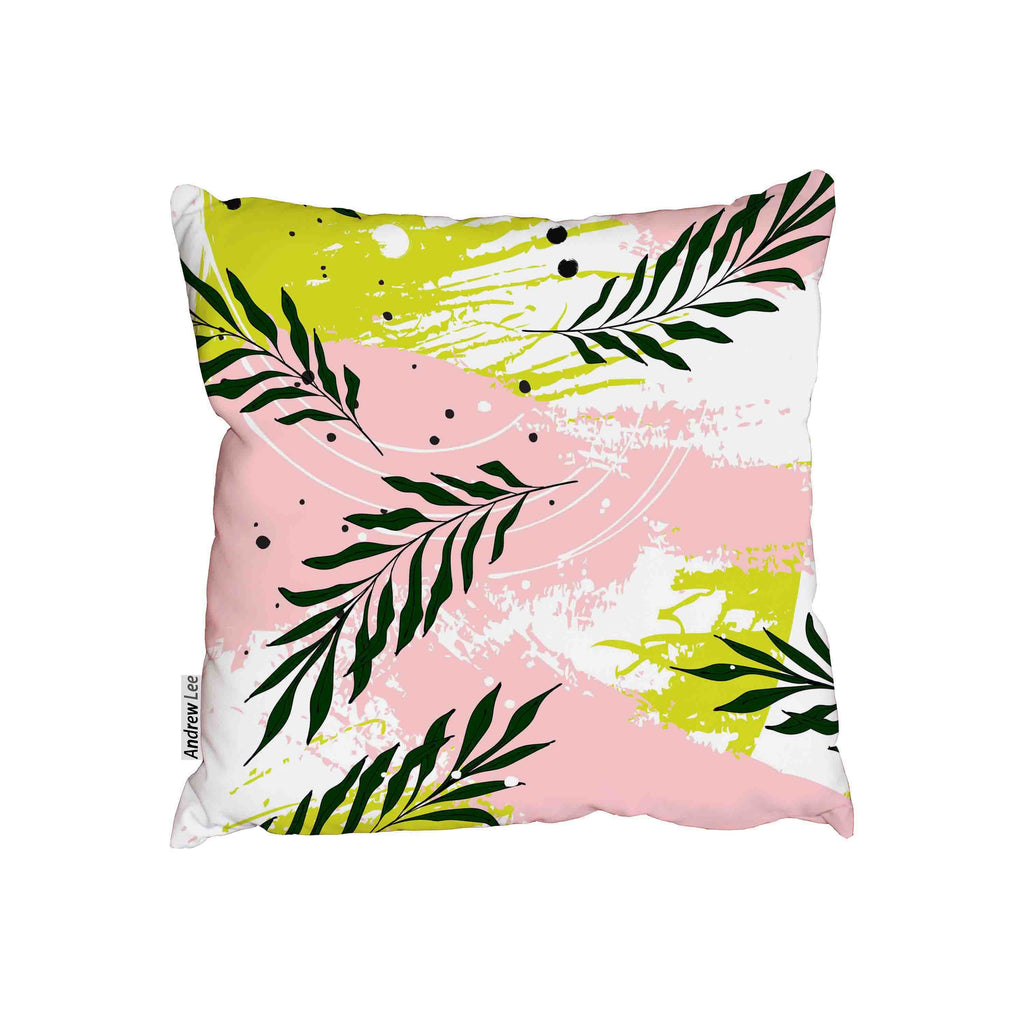 New Product Palm leaves on pink green background (Cushion)  - Andrew Lee Home and Living