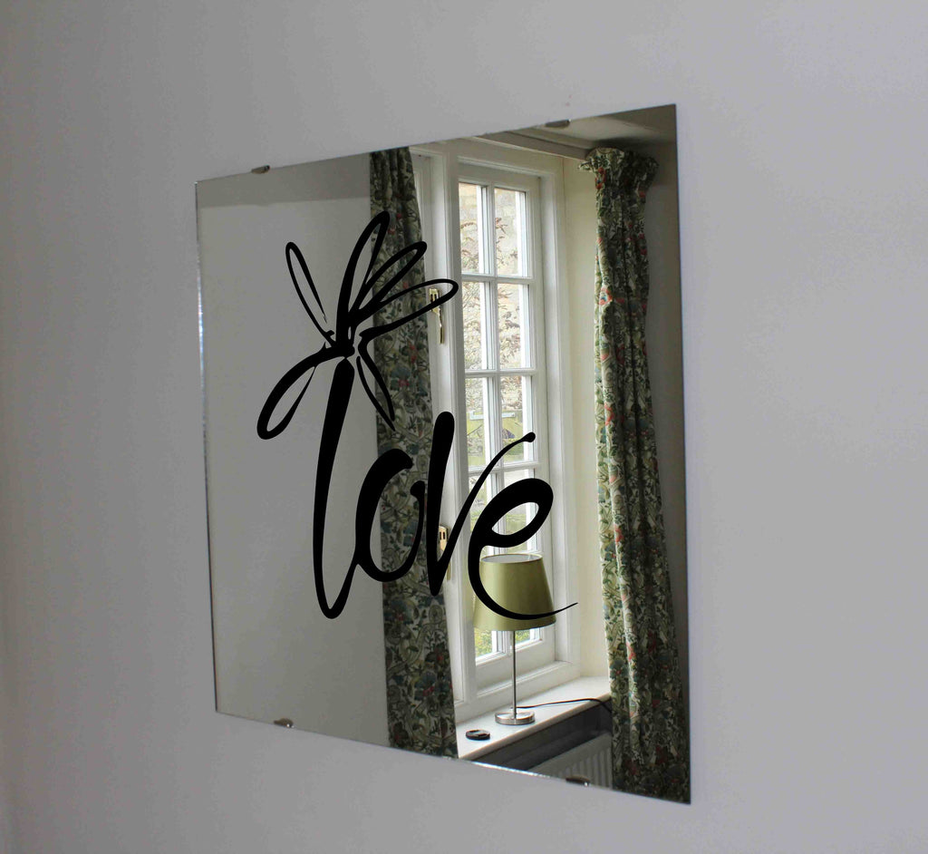 New Product Decorative love text with flower (Mirror Art print)  - Andrew Lee Home and Living