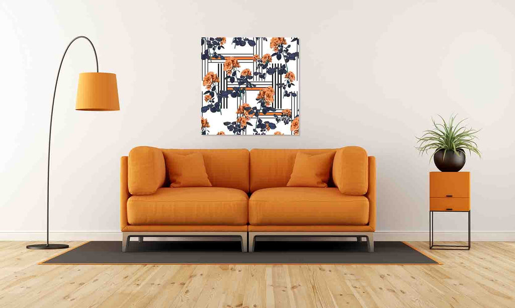 New Product Flowers and lines (Canvas Print)  - Andrew Lee Home and Living