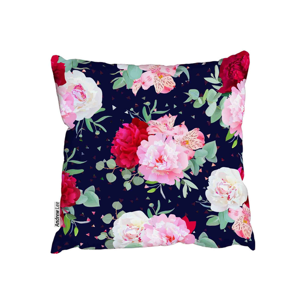 New Product Navy floral print with burgundy red and pink peony (Cushion)  - Andrew Lee Home and Living