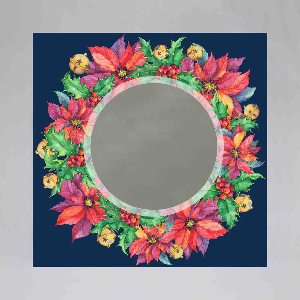 New Product Floral frame blue background (Mirror Art print)  - Andrew Lee Home and Living