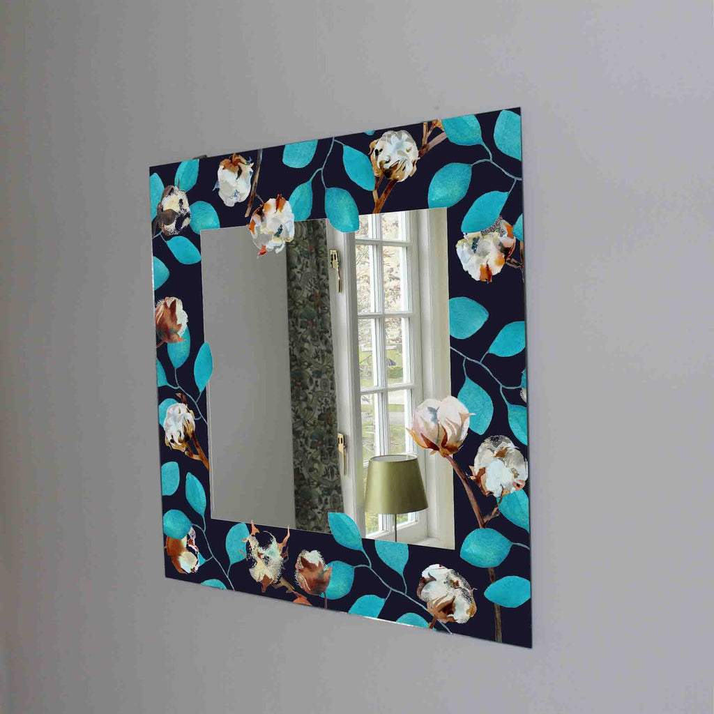 New Product Leaves at a dark blue (Mirror Art print)  - Andrew Lee Home and Living