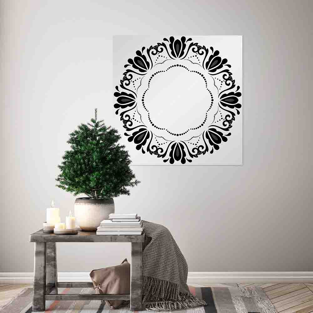 New Product Round frame with floral elements and arabesques (Mirror Art print)  - Andrew Lee Home and Living