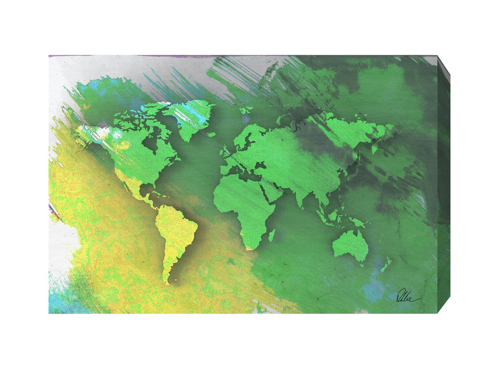 New Product World Map Yellow And Green  - Andrew Lee Home and Living