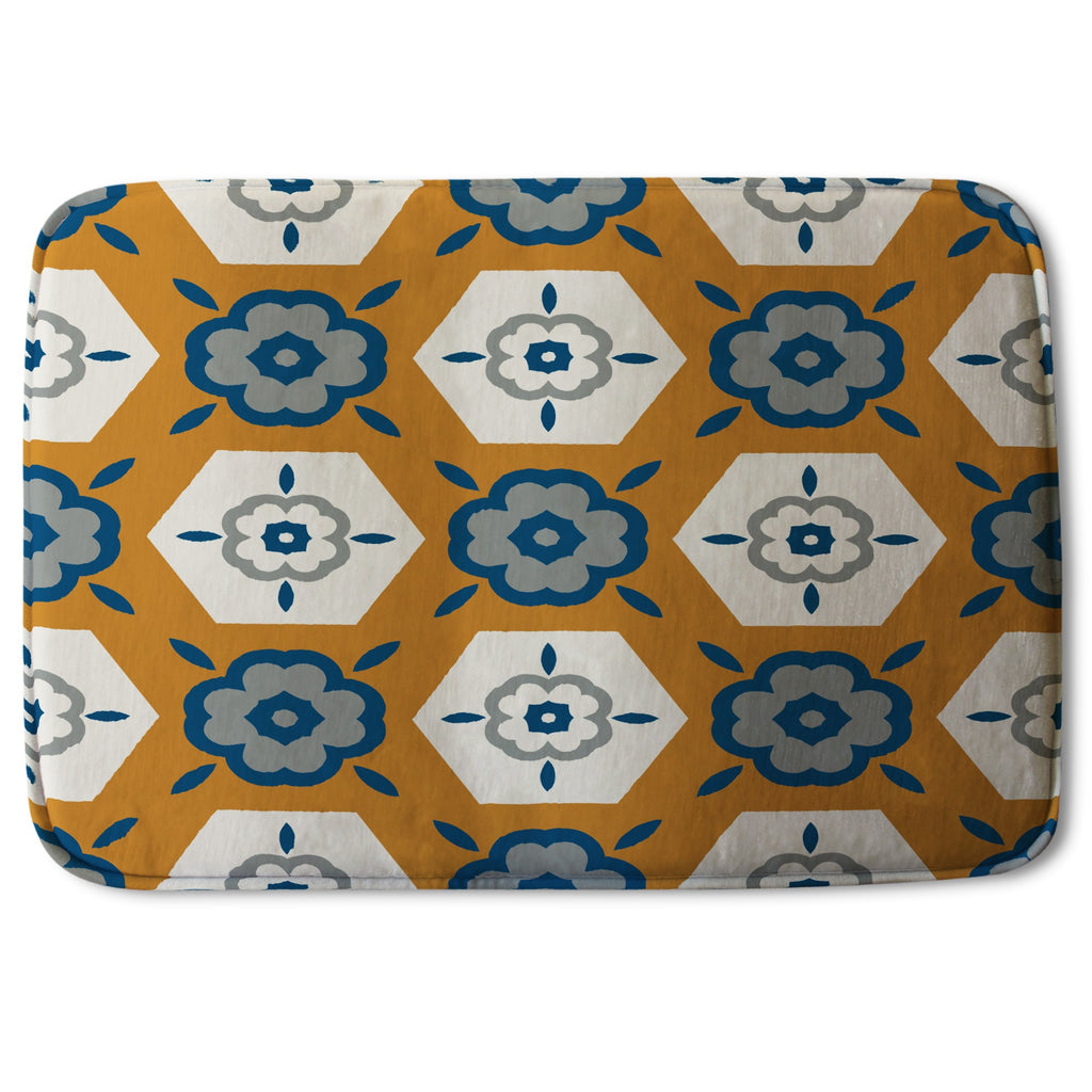 New Product Rust orange background with gray, navy blue and beige (Bath Mat)  - Andrew Lee Home and Living