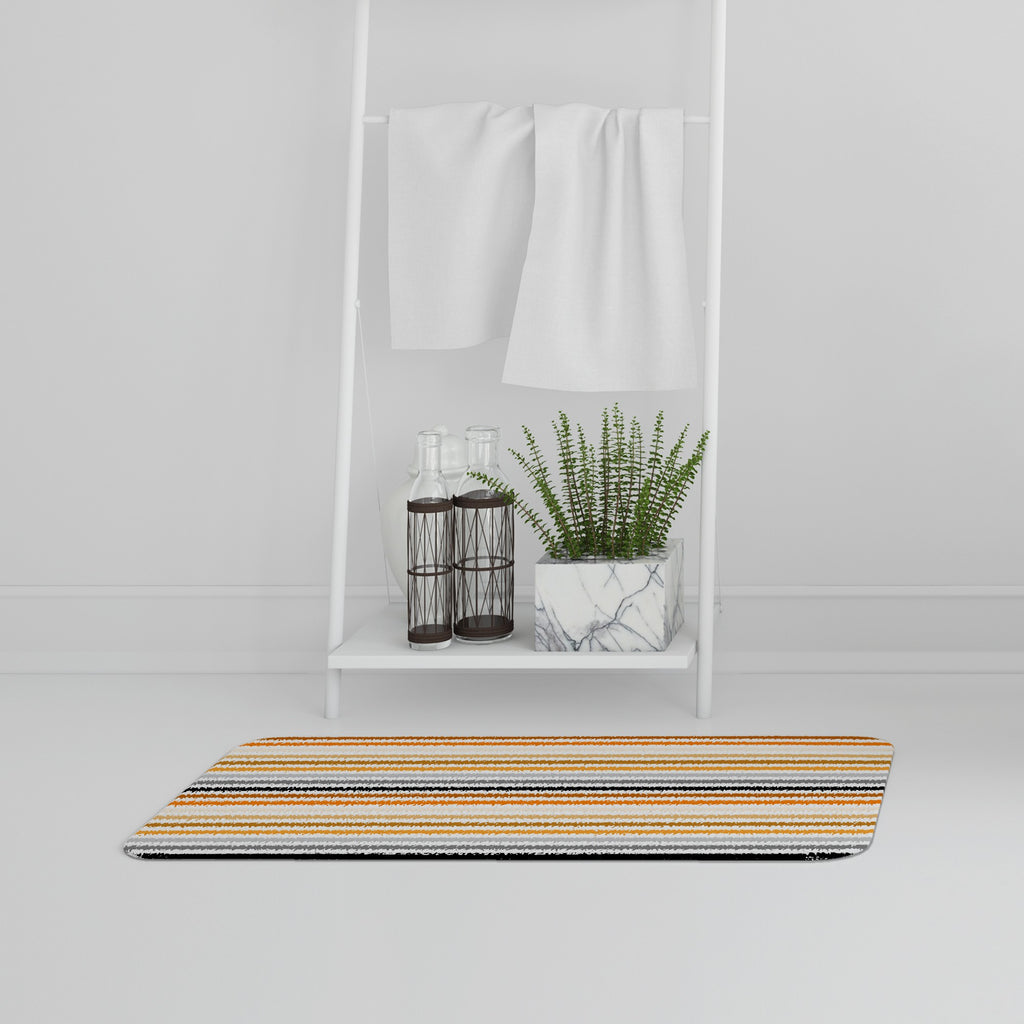 New Product Striped pattern, orange black gray beige and brown (Bath Mat)  - Andrew Lee Home and Living
