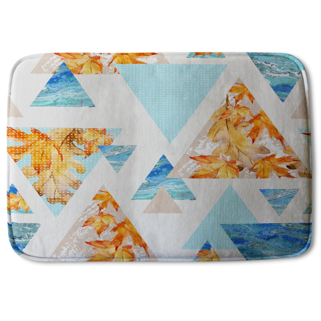 New Product Triangles with maple, oak leaves, marble (Bath Mat)  - Andrew Lee Home and Living