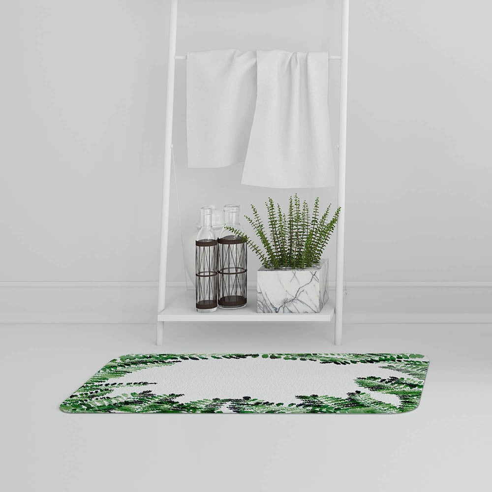 New Product Green Botanical Leaves (Bath Mat)  - Andrew Lee Home and Living