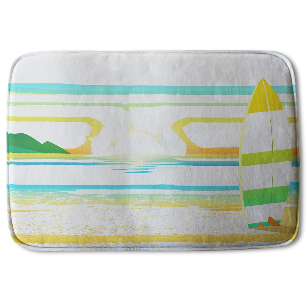 New Product Surf Board On Beach (Bath Mat)  - Andrew Lee Home and Living