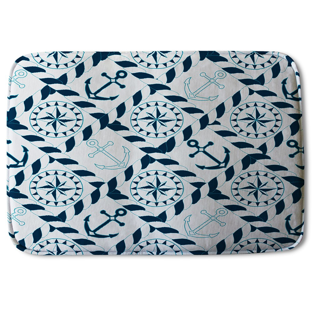 New Product Blue Nautical Elements (Bath Mat)  - Andrew Lee Home and Living