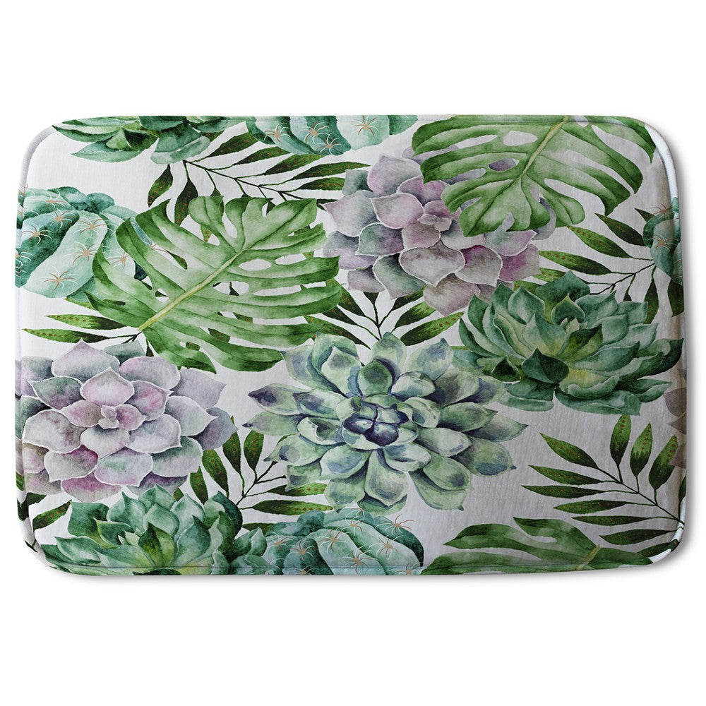 New Product Watercolour Botanical Leaves (Bath Mat)  - Andrew Lee Home and Living
