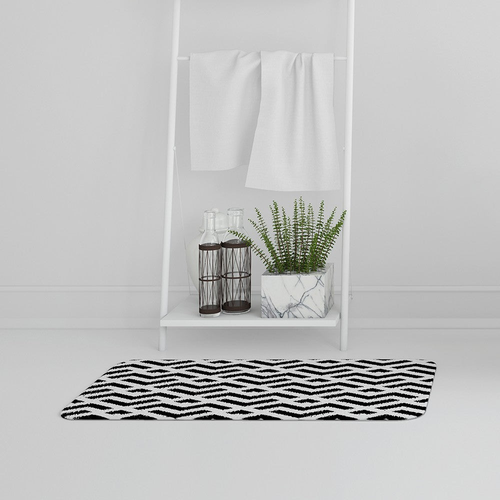 New Product Black & White Geometric (Bath Mat)  - Andrew Lee Home and Living