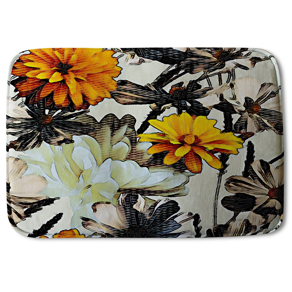 New Product Orange Flower Print (Bath Mat)  - Andrew Lee Home and Living