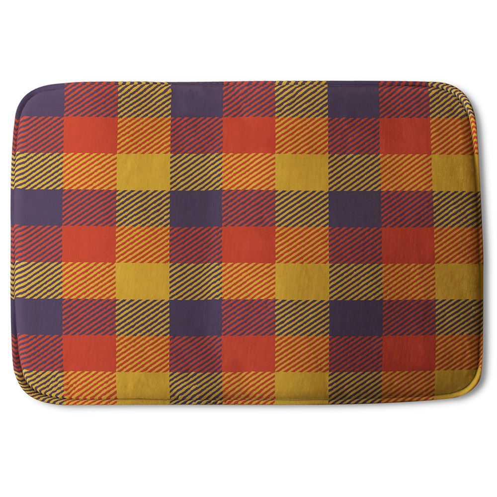 New Product Orange Check Pattern (Bath Mat)  - Andrew Lee Home and Living