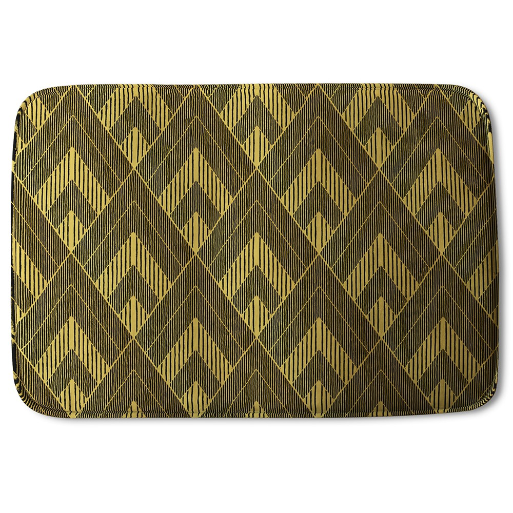 New Product Black & Gold Striped Triangles (Bath Mat)  - Andrew Lee Home and Living