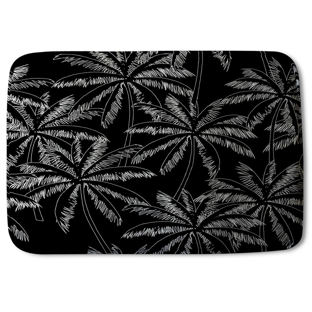 New Product White Palm Trees on Black (Bath Mat)  - Andrew Lee Home and Living