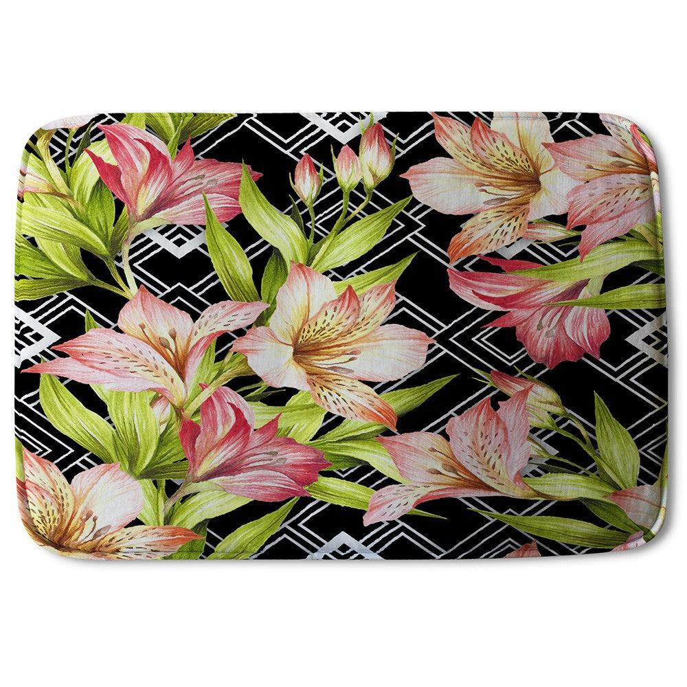 New Product Bright Plants on Geometric Background (Bath Mat)  - Andrew Lee Home and Living
